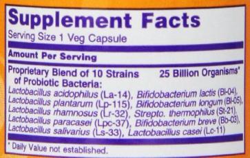 NOW Foods Probiotic-10 25 Billion Ingredients