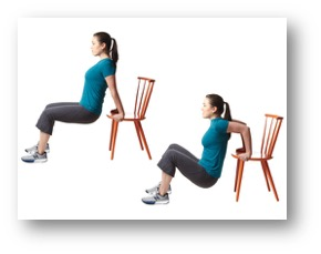 Chair dips for triceps 30 seconds