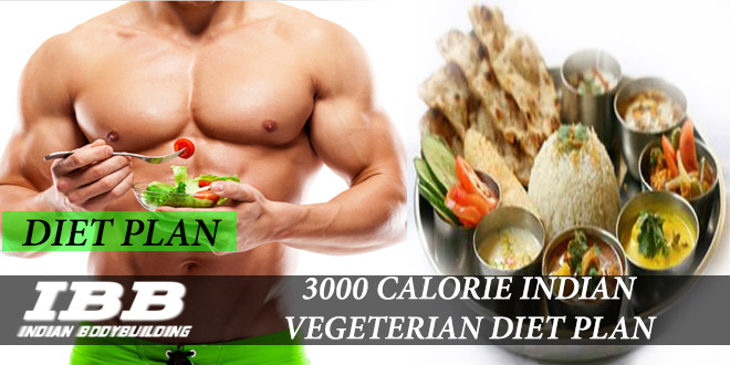 3000 Calorie Indian Vegetarian Diet for Hard Gainers - IBB - Indian