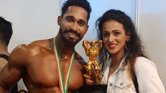 Jiten Marke with fiance Megha Karpe at IHFF Amateur olympia