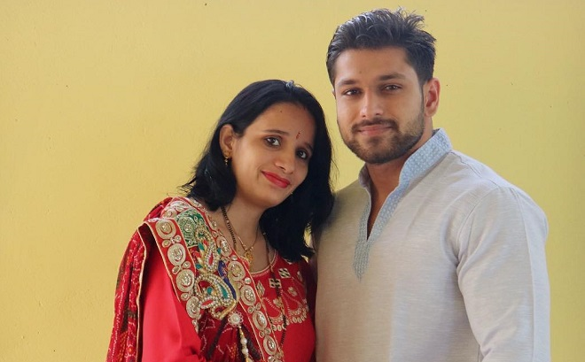 Sandeep Yadav with his wife